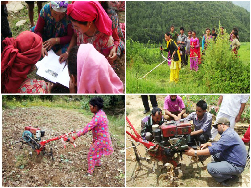 Clockwise from top left: Machinery orientation and training in Chitlang; Demonstration of brush cutter in Holeri; Local mechanics' training on the repair of the mini tiller and other machinery in Chitlang; Training on the use of the mini tiller for land preparation in Holeri.