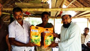 A farmer (center) receives seeds of BRRI dhan34 in Jessore District.